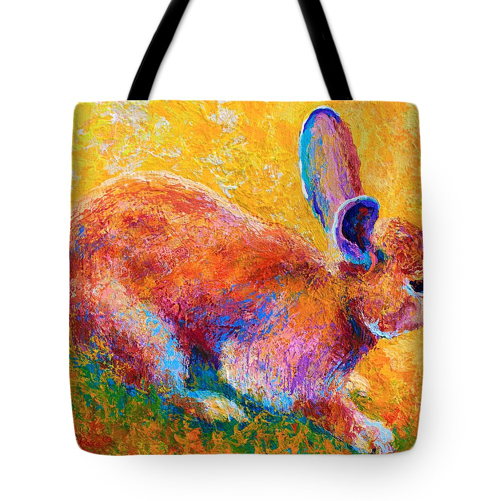 Rabbit Tote Bag featuring the painting Cottontail II by Marion Rose