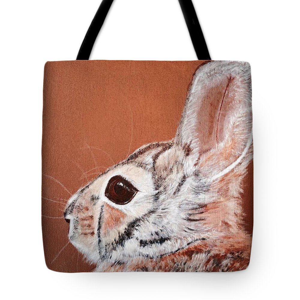 Cottontail Rabbit Tote Bag featuring the painting Cottontail by Koni Webb Bosch