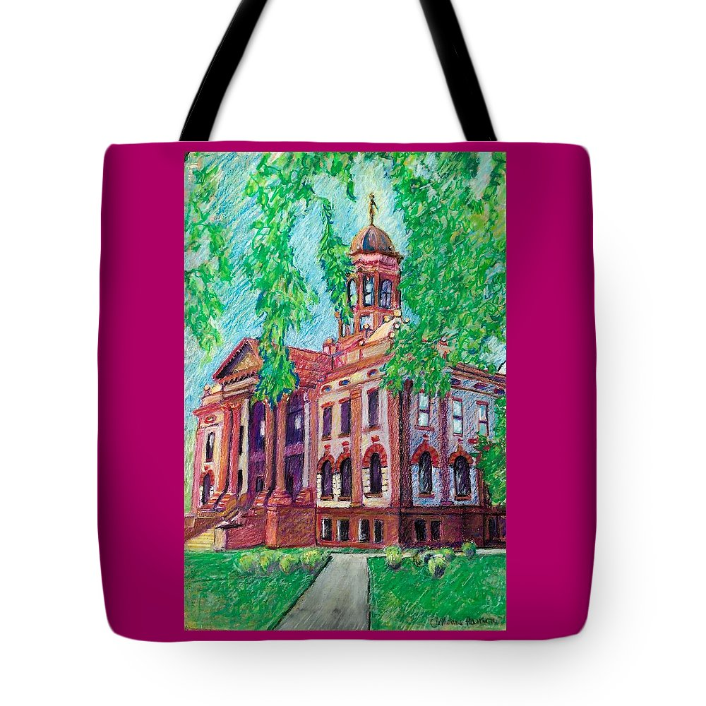 Tote Bag featuring the pastel Cottonwood County Courthouse by Catherine Hanson