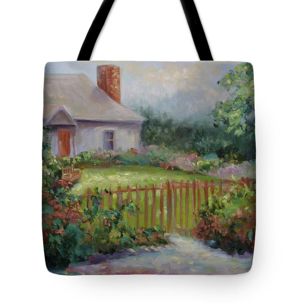 Cottswold Tote Bag featuring the painting Cottswold Cottage by Ginger Concepcion