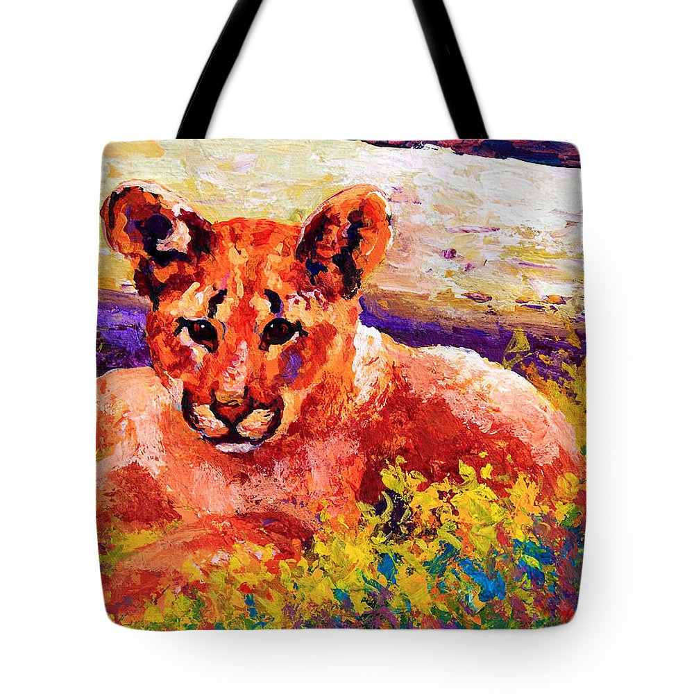 Mountain Lion Tote Bag featuring the painting Cougar Cub by Marion Rose