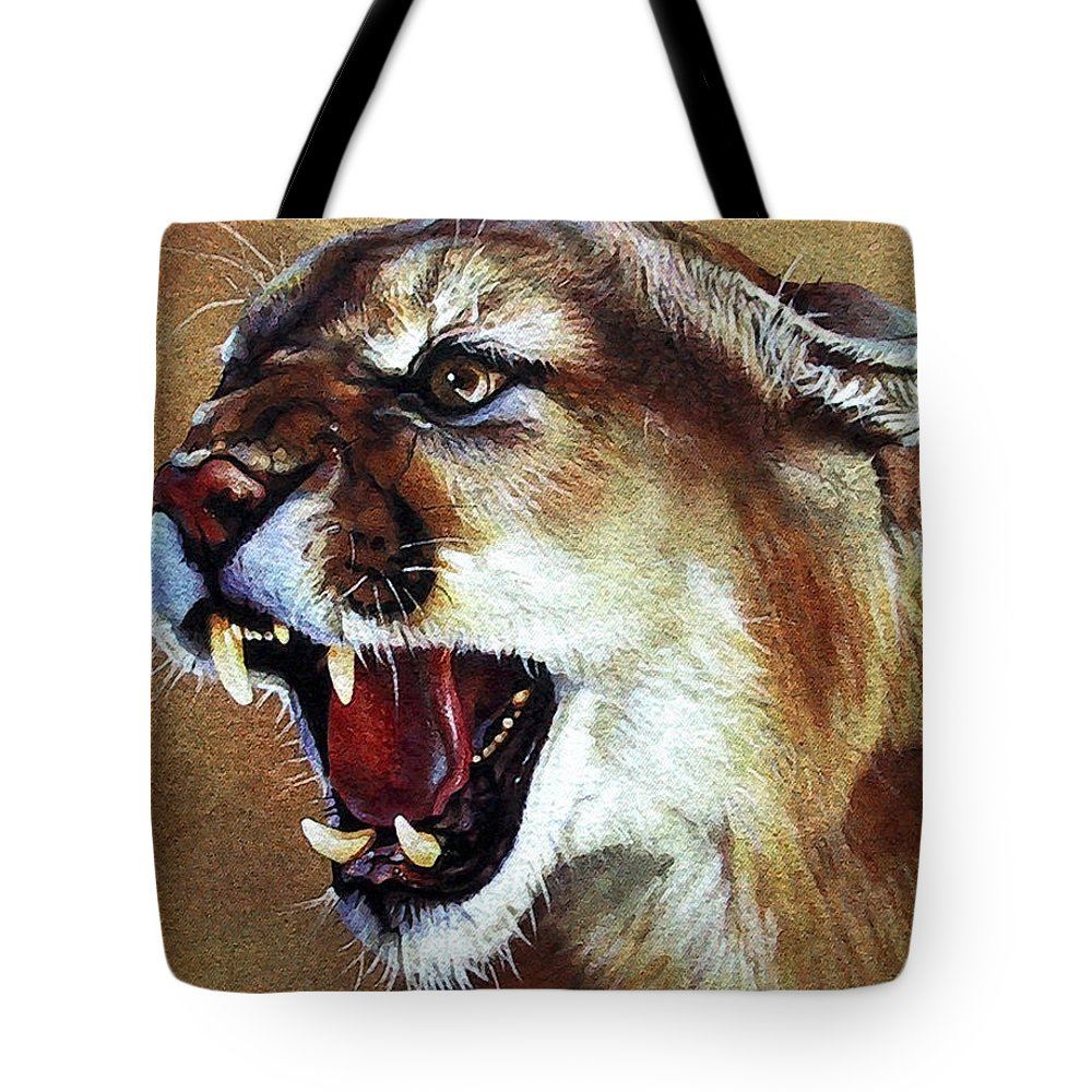 Southwest Art Tote Bag featuring the painting Cougar by J W Baker