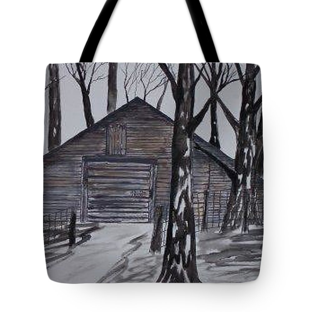 Watercolor Landscape Painting Barn Pen And Ink Drawing Print Original Tote Bag featuring the painting Country Barn Pen And Ink Drawing Print by Derek Mccrea