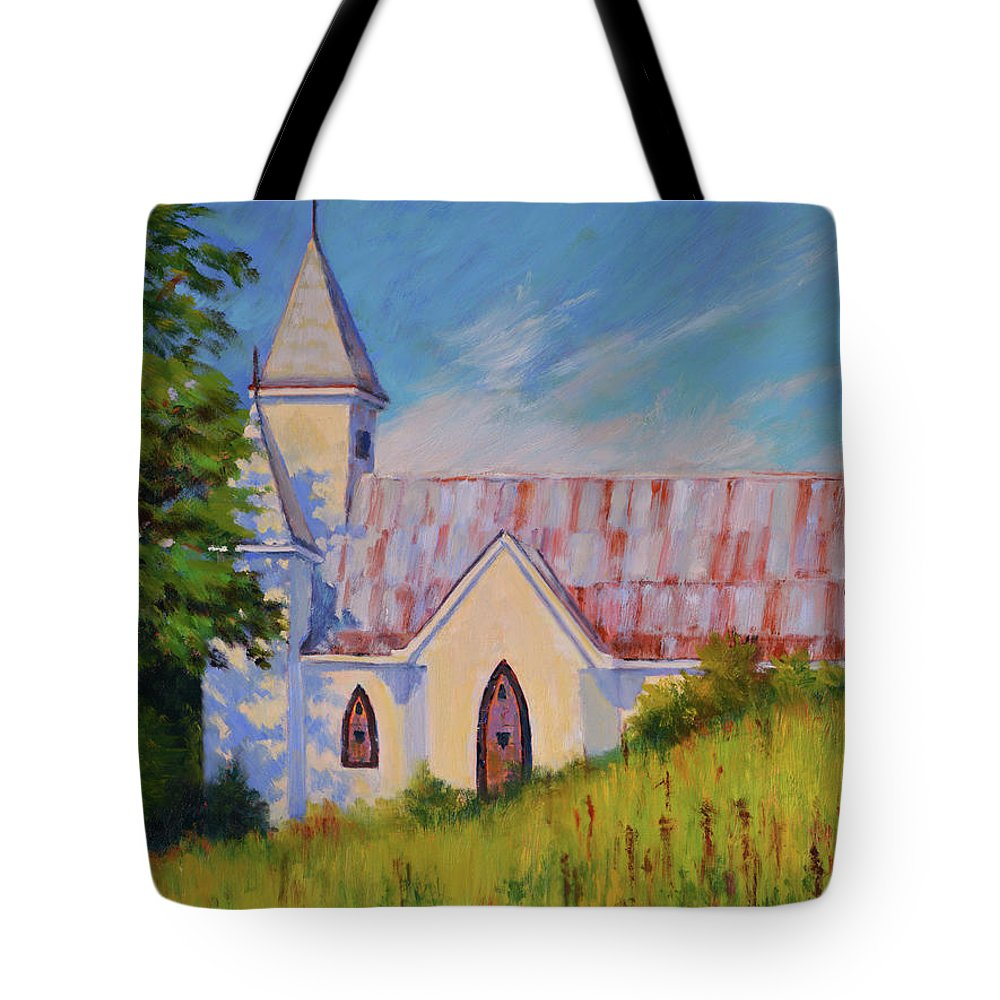 Impressionism Tote Bag featuring the painting Country Church by Keith Burgess