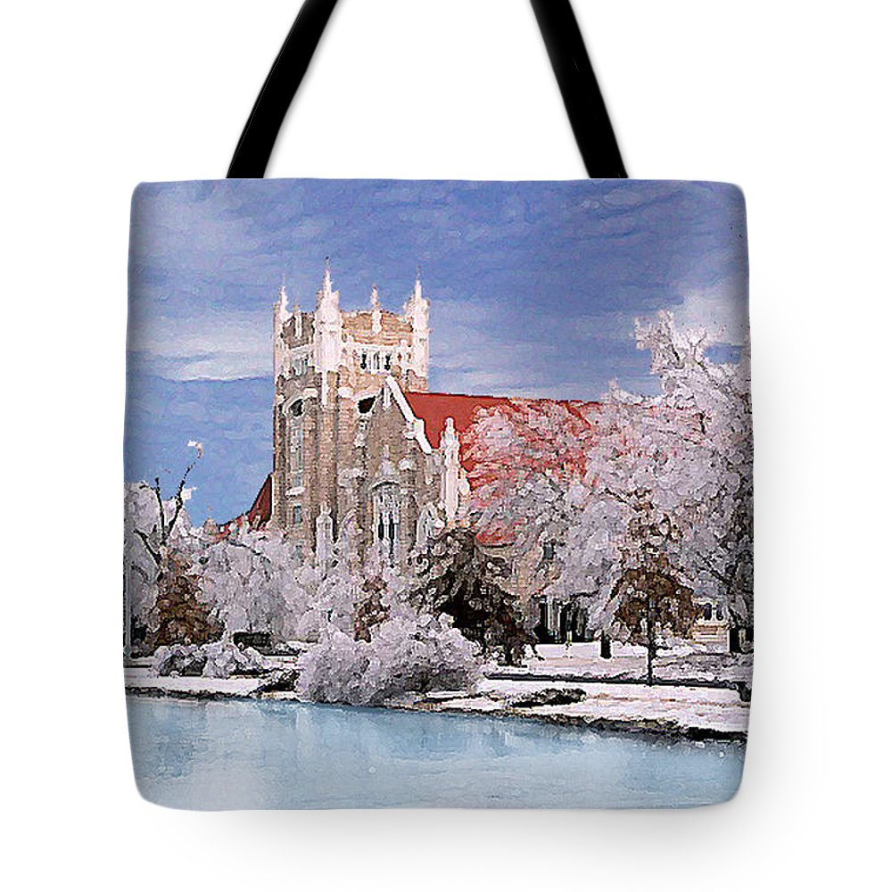 Winter Tote Bag featuring the photograph Country Club Christian Church by Steve Karol