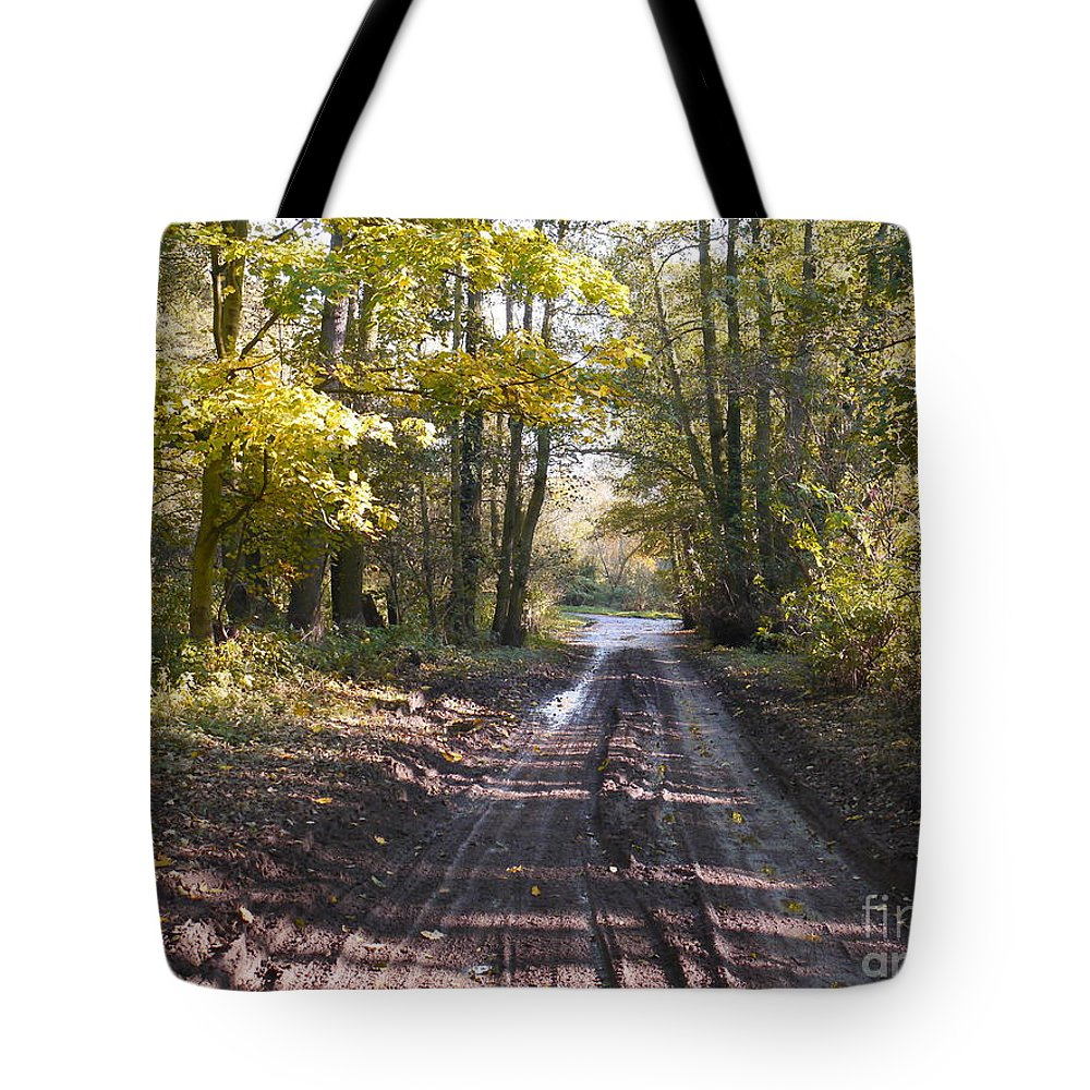 Country Lane Tote Bag featuring the photograph Country Lane In Autumn 2 by John Chatterley