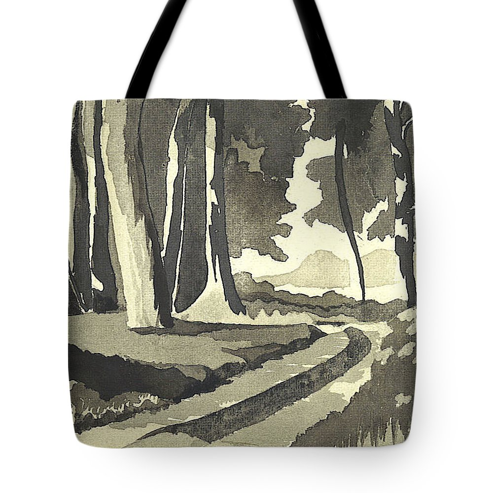 Rural Tote Bag featuring the painting Country Lane In Evening Shadow by Kip DeVore
