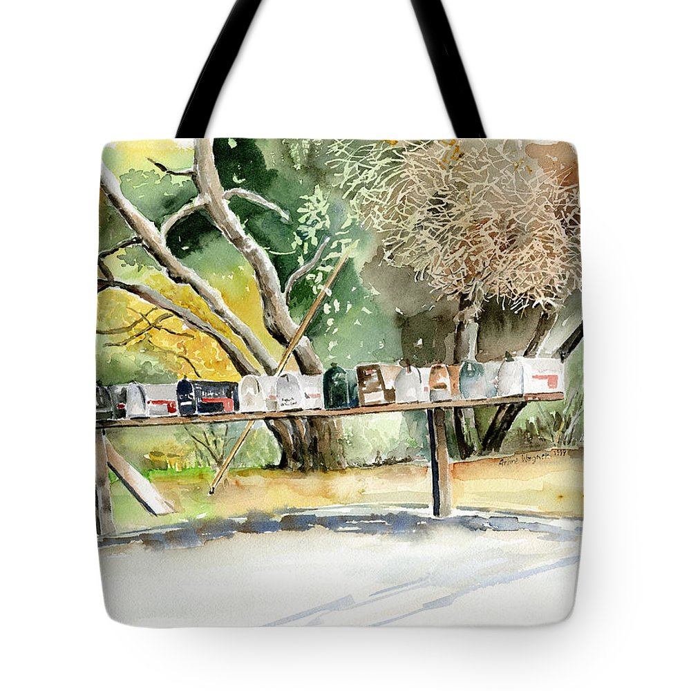 Mailboxes Tote Bag featuring the painting Country Mailboxes by Arline Wagner