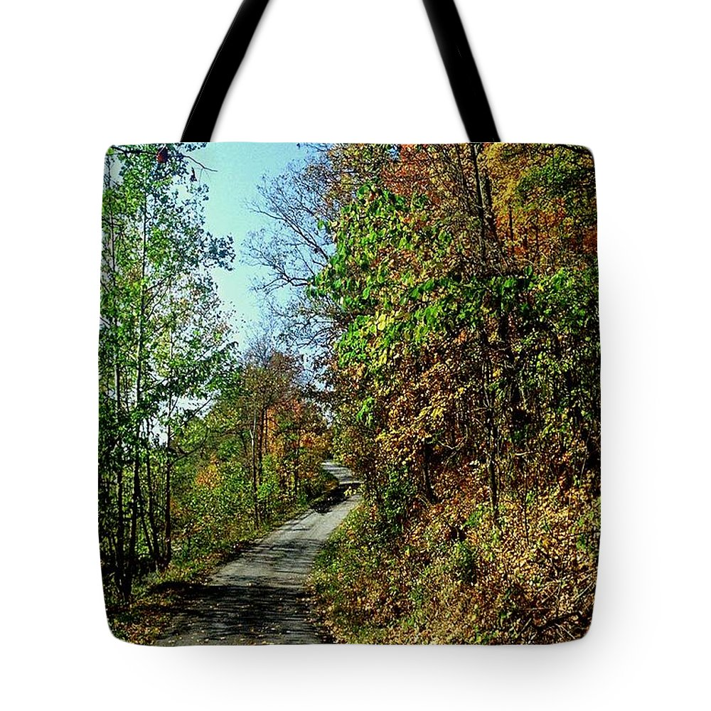 Country Road Tote Bag featuring the photograph Country Path by Gary Wonning