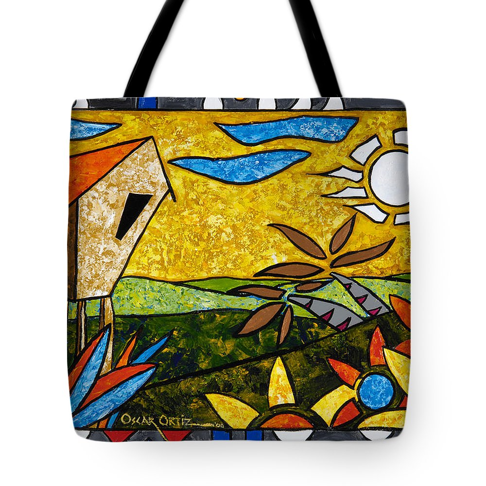 Puerto Rico Tote Bag featuring the painting Country Peace by Oscar Ortiz