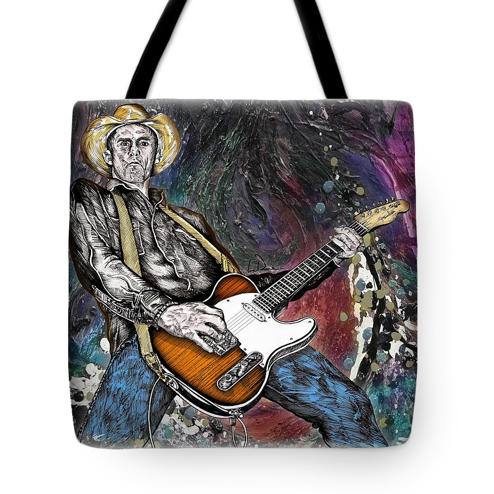 Country Tote Bag featuring the drawing Country Rock Guitar by Doug LaRue