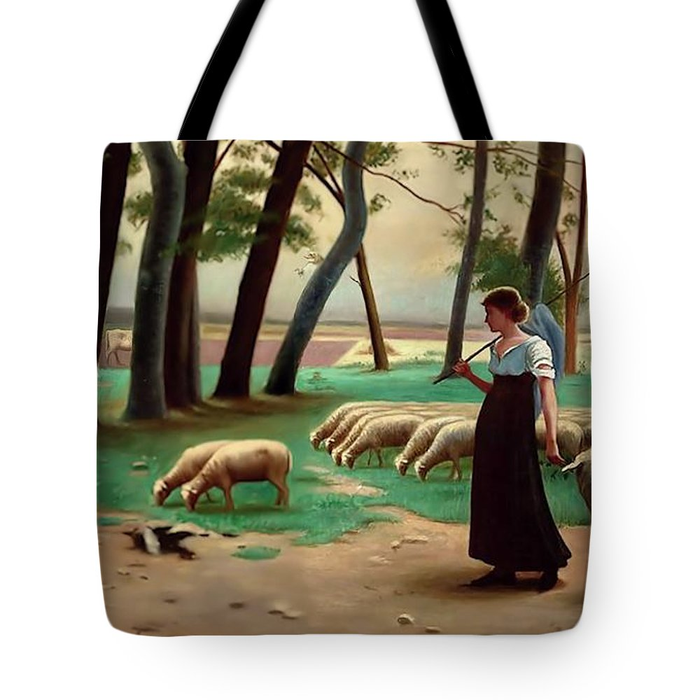 Country Tote Bag featuring the painting Country Shepherdess by Henri Lerolle