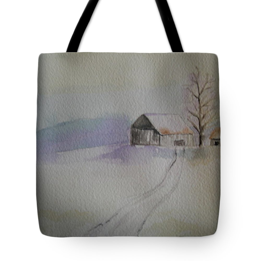 Barn Snow Winter Tree Landscape Cold Tote Bag featuring the painting Country Snow by Patricia Caldwell