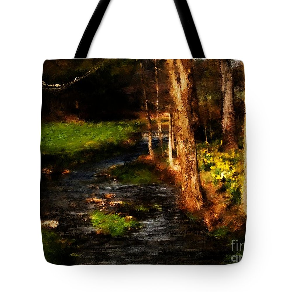 Digital Photo Tote Bag featuring the photograph Country Stream by David Lane