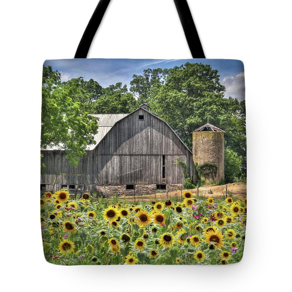 Barn Tote Bag featuring the photograph Country Sunflowers by Lori Deiter