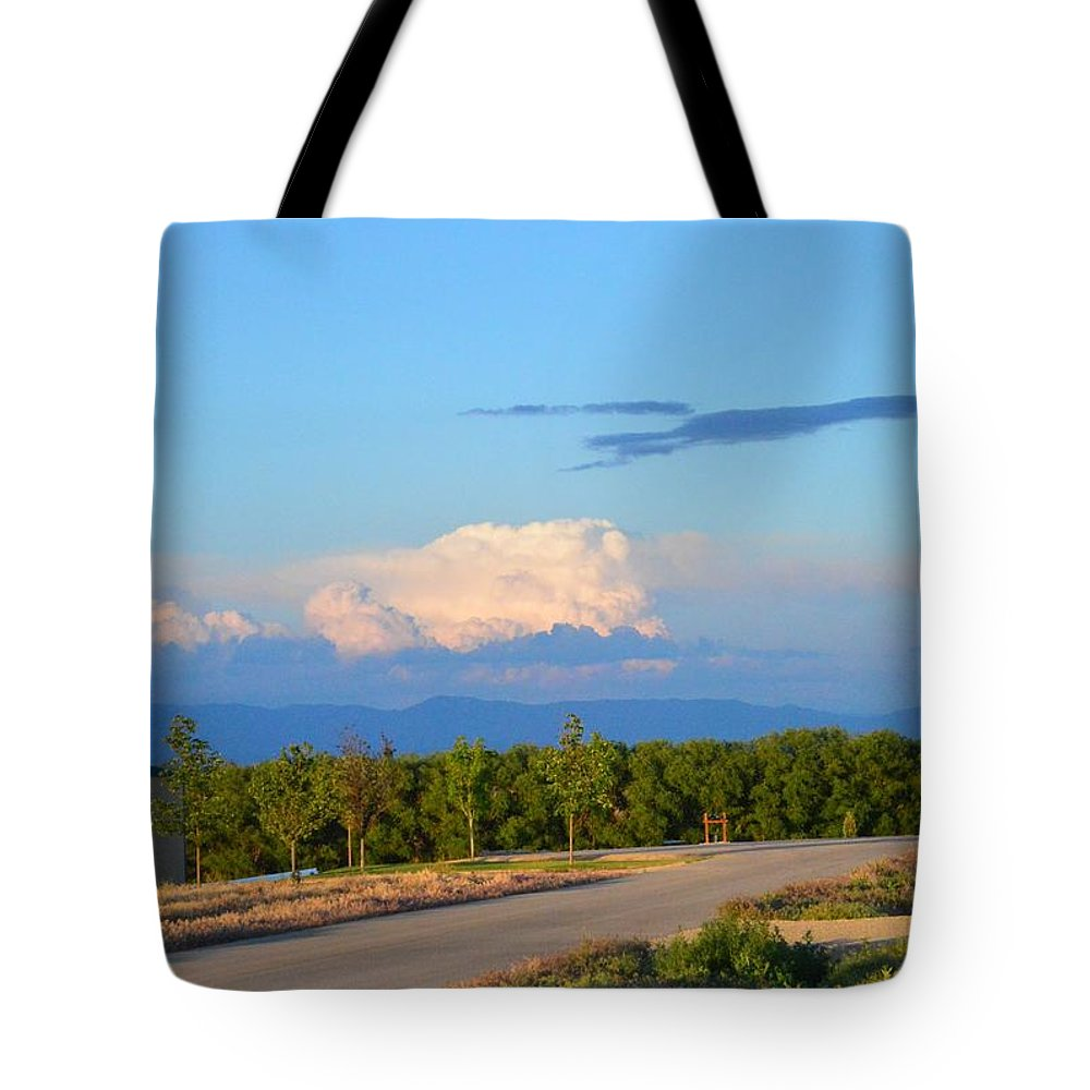 Clouds Tote Bag featuring the photograph Country View by Kayla Craig