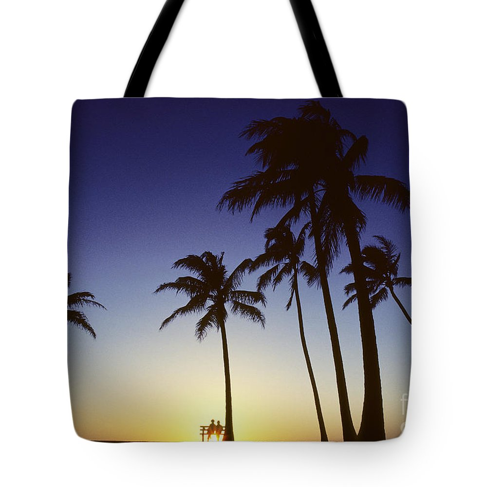 Beach Tote Bag featuring the photograph Couple And Sunset Palms by Carl Shaneff - Printscapes
