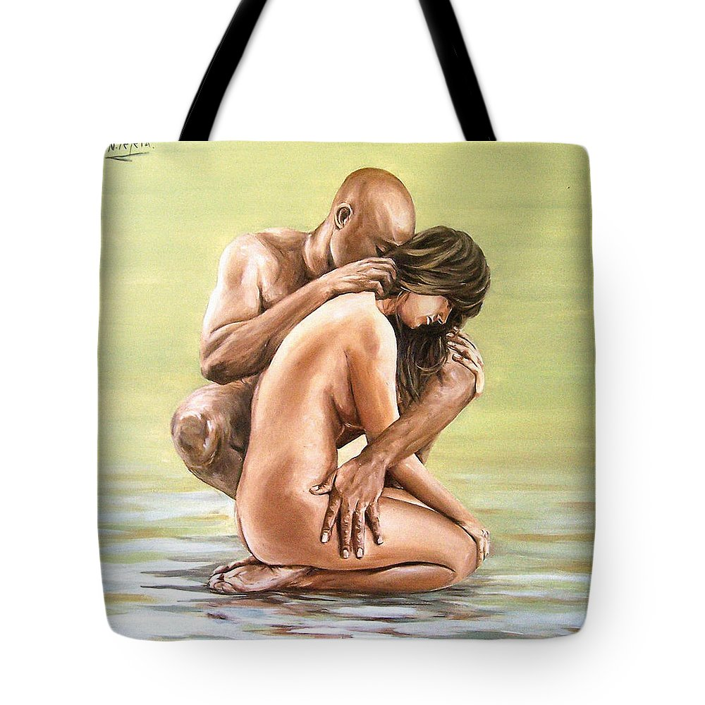 Nude Tote Bag featuring the painting Couple by Natalia Tejera