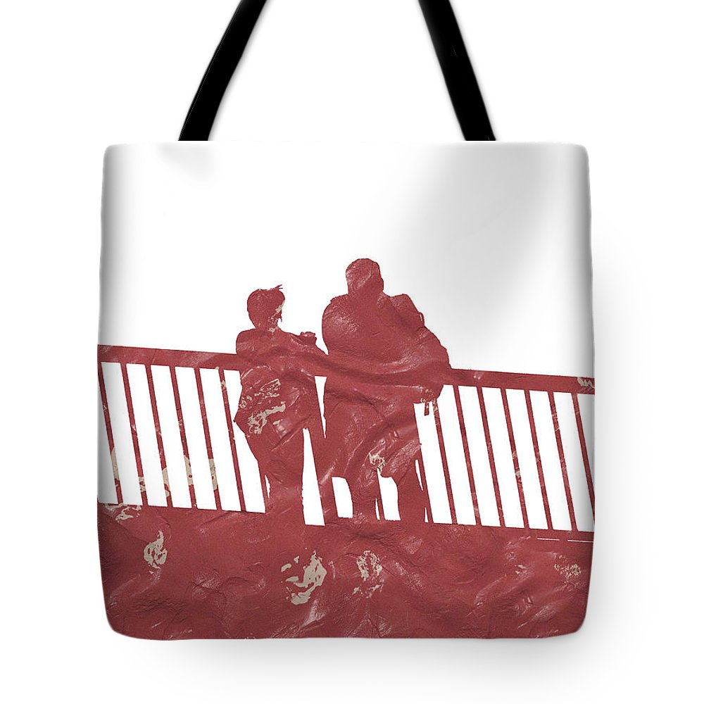 Couple Tote Bag featuring the digital art Couple On Bridge by Miroslav Nemecek