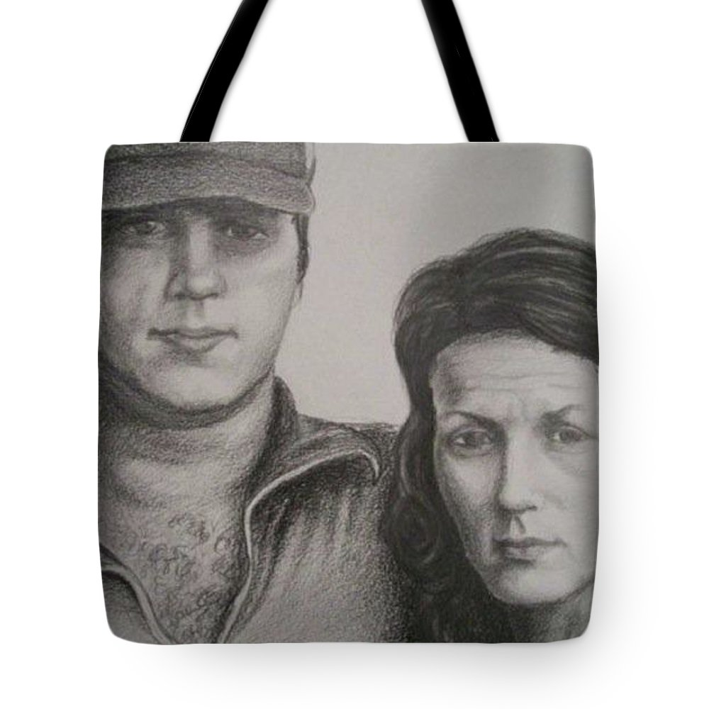 Couple Tote Bag featuring the drawing Couple Portrait 2 by Christopher Denham