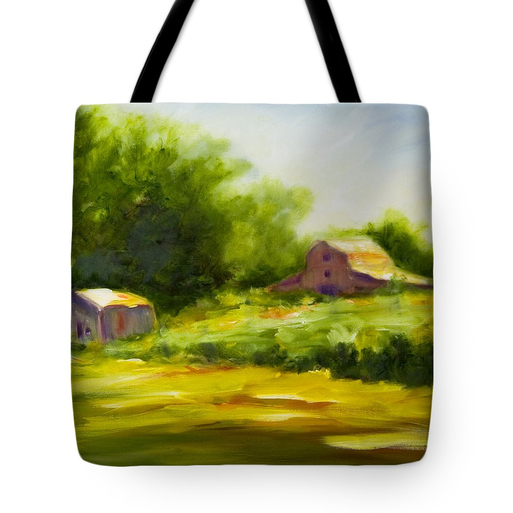 Landscape In Green Tote Bag featuring the painting Courage by Shannon Grissom