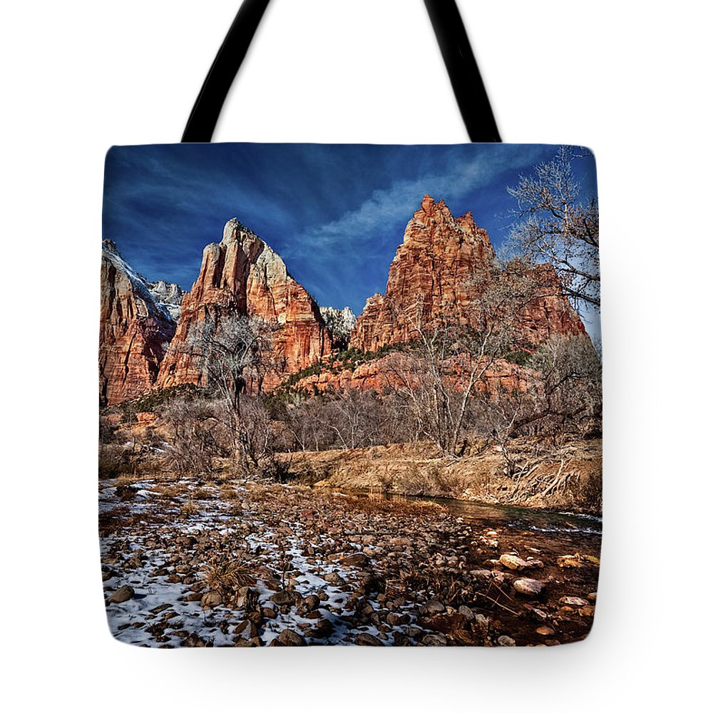 Mountains Tote Bag featuring the photograph Court Of The Patriarchs II by Christopher Holmes