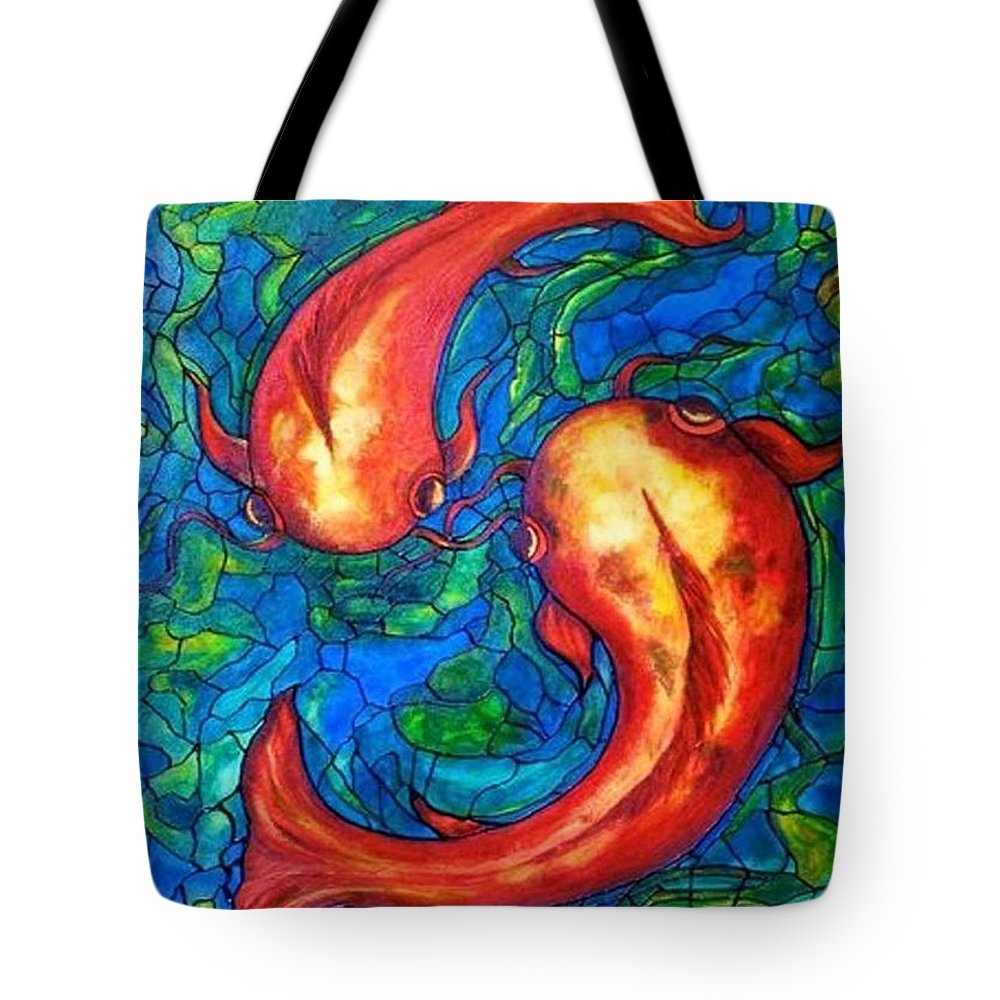 Original Painting Tote Bag featuring the painting Courtship by Rae Chichilnitsky