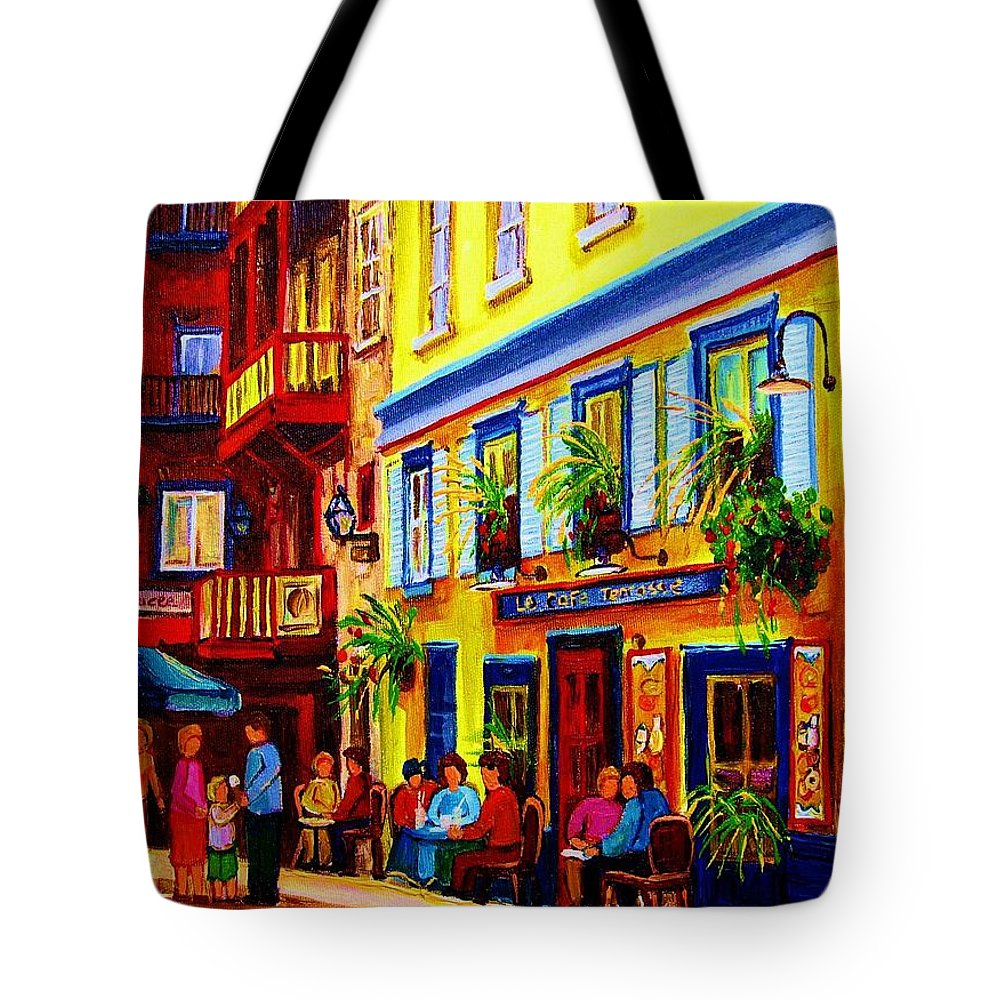 Courtyard Cafes Tote Bag featuring the painting Courtyard Cafes by Carole Spandau