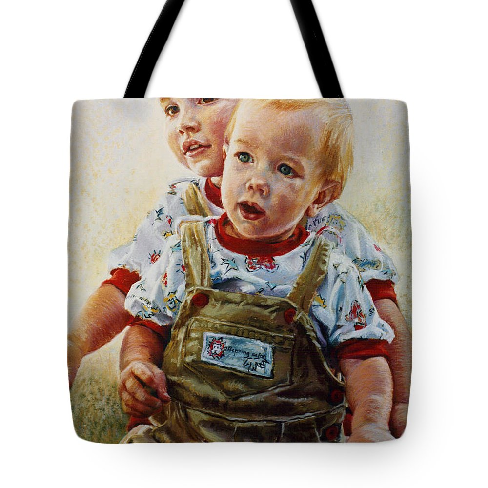 Pastel Portrait Tote Bag featuring the pastel Cousins by Jean Hildebrant