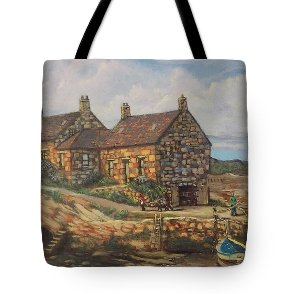 Landscape Tote Bag featuring the painting Cove Harbor by Chris Burton