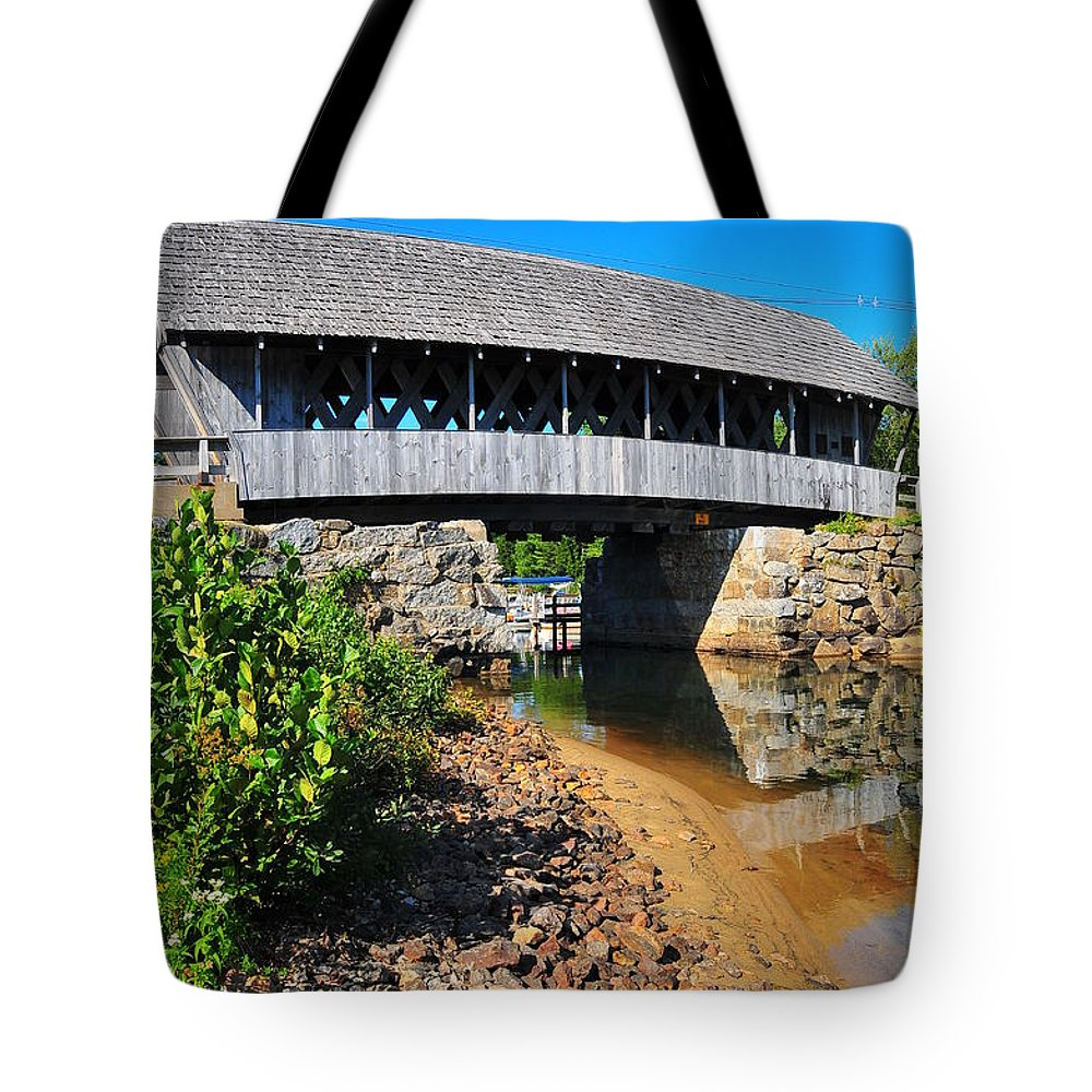 Nh Tote Bag featuring the photograph Covered Bridge by Catherine Reusch Daley