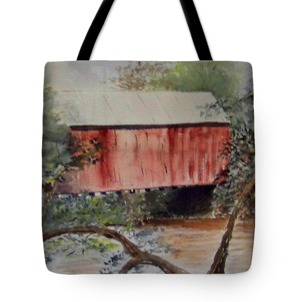 Covered Bridge Tote Bag featuring the painting Covered Bridge by Eleanor Robinson