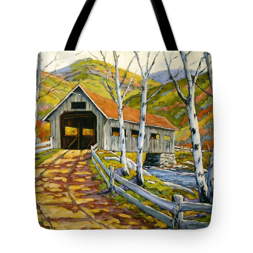 Water Tote Bag featuring the painting Covered Bridge by Richard T Pranke
