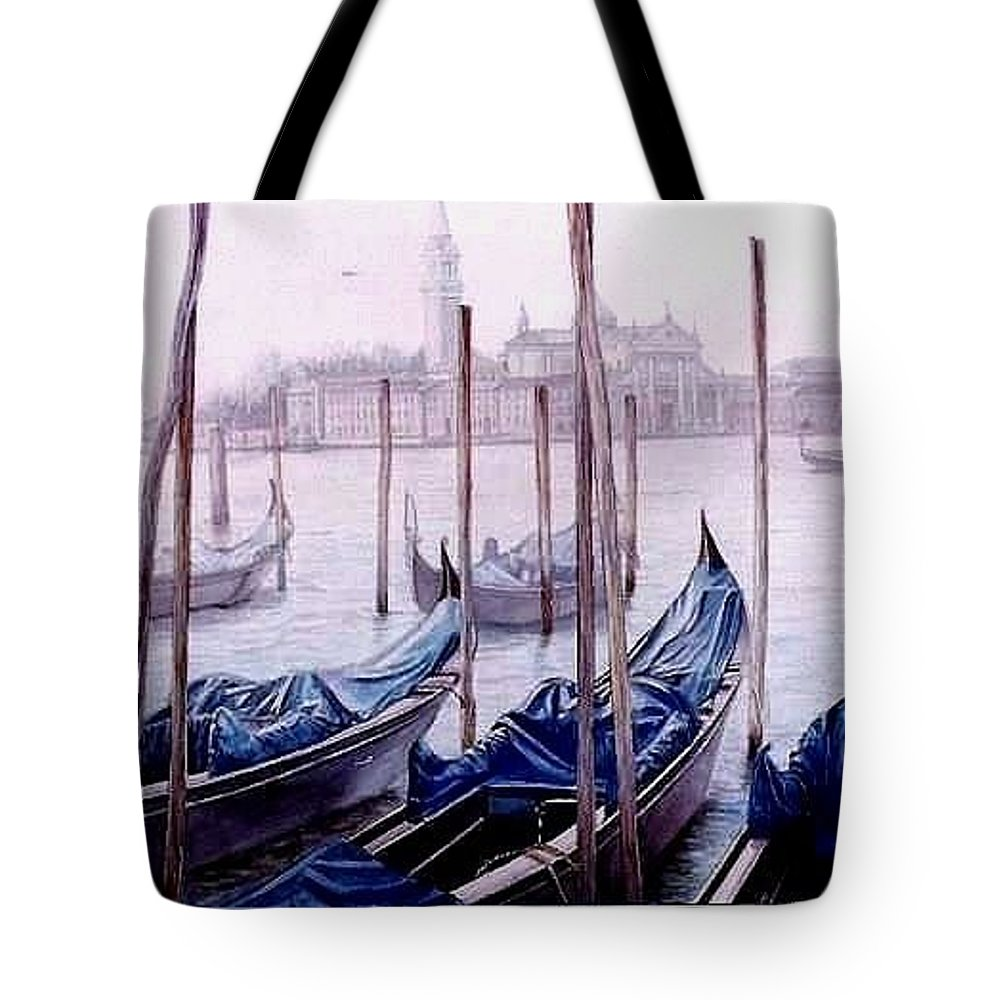 Venice Tote Bag featuring the painting Covered Gondolas by I Joseph