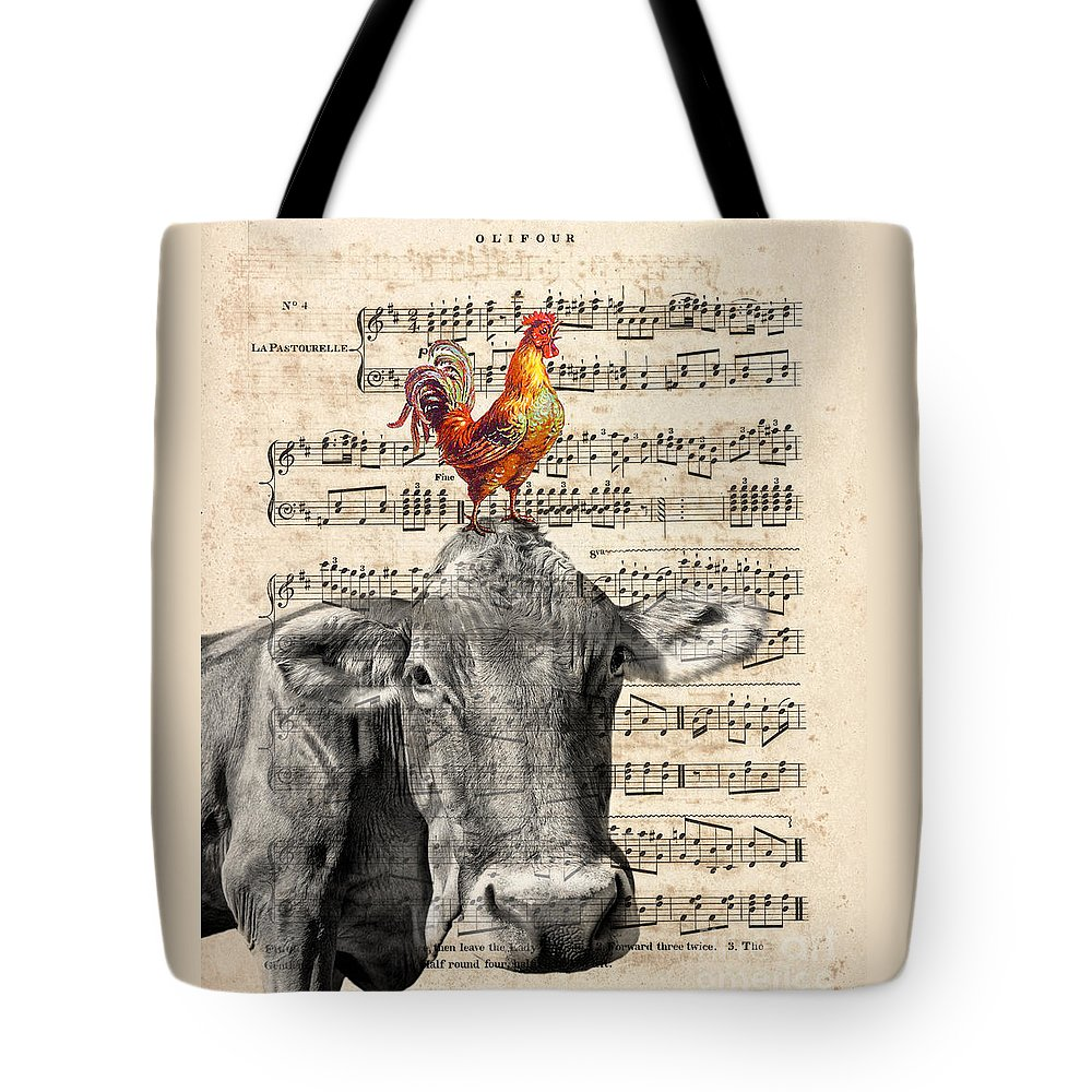 Cow Tote Bag featuring the mixed media Cow And Rooster by Delphimages Photo Creations