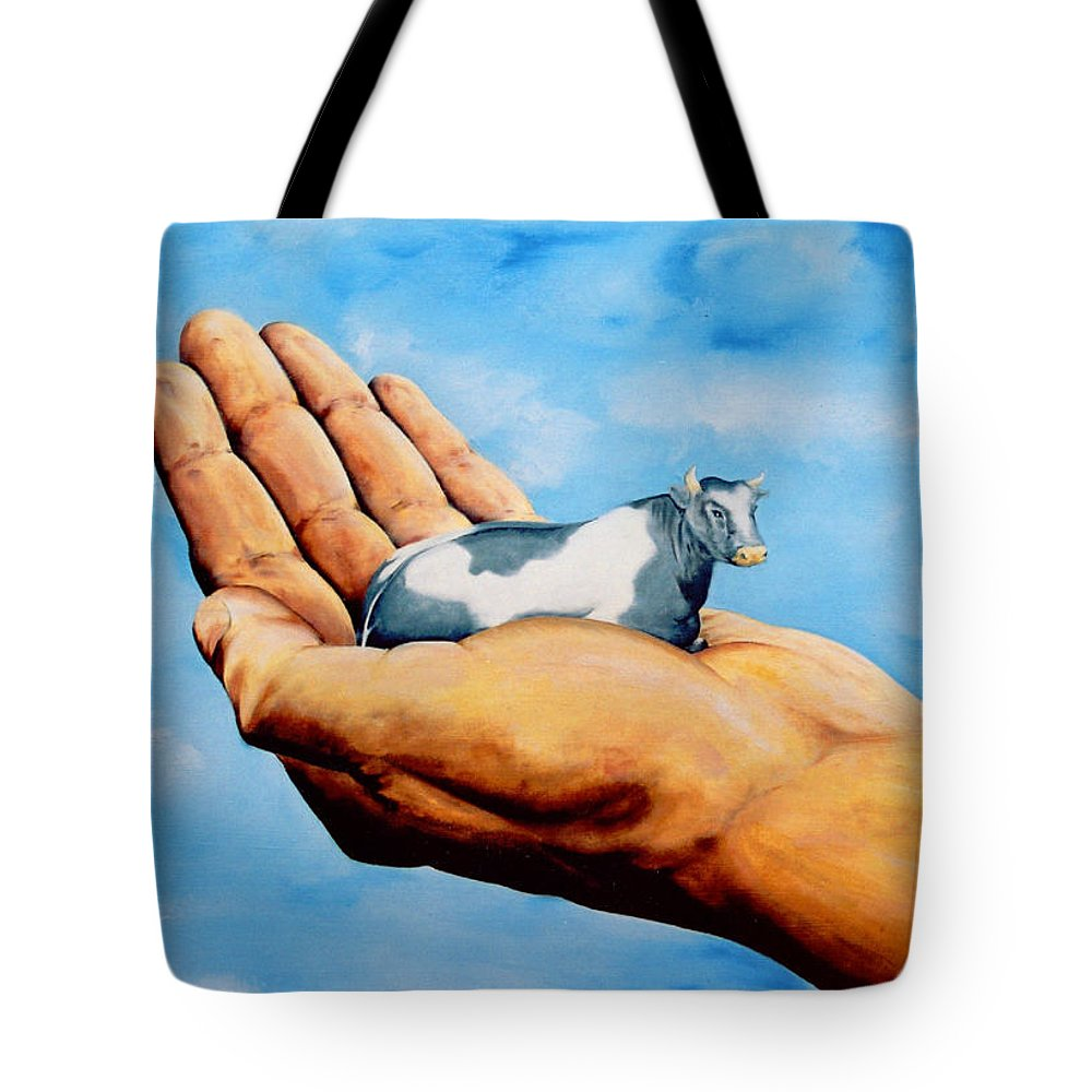Surreal Tote Bag featuring the painting Cow In Hand by Mark Cawood