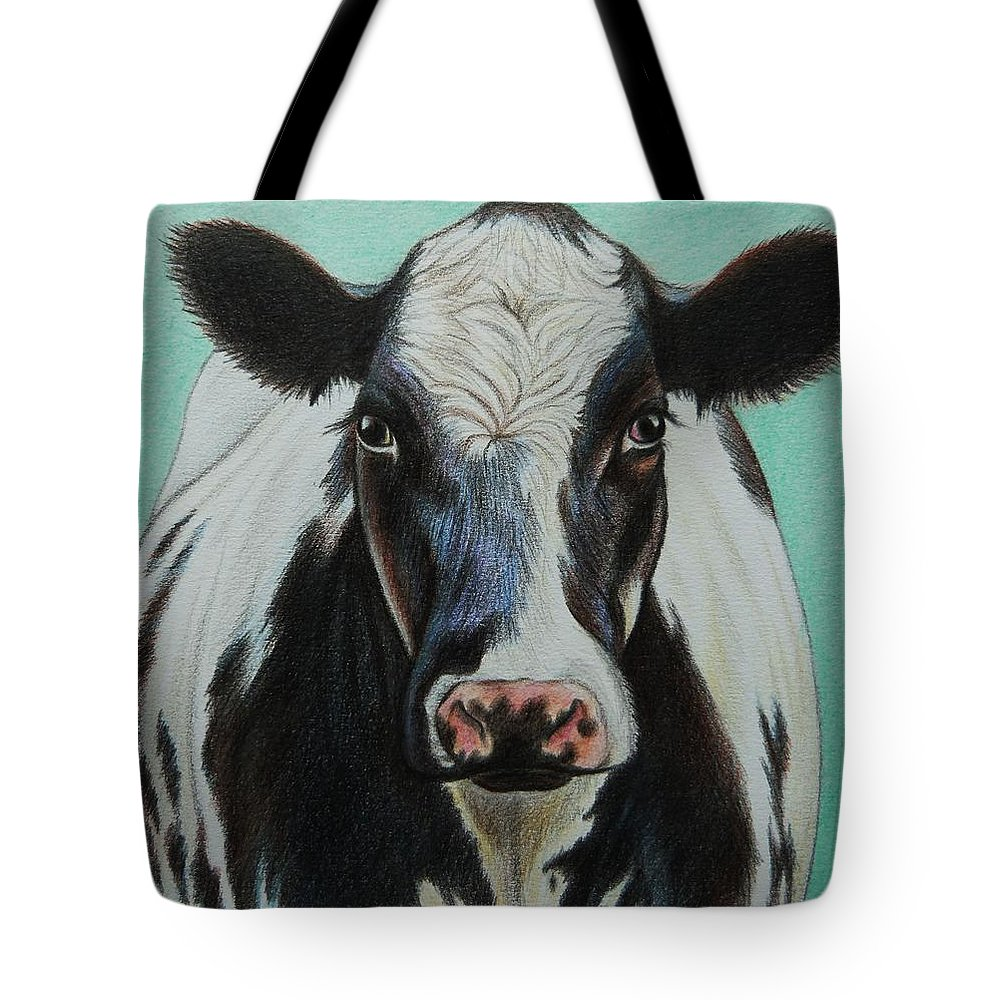 Cow Tote Bag featuring the drawing Cow by Lucy Deane