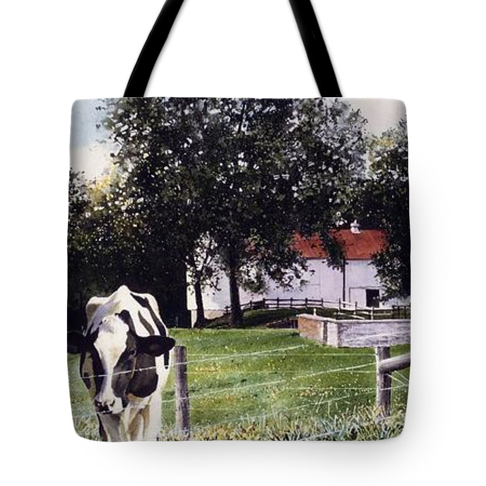 Cows Tote Bag featuring the painting Cow Spotting by Denny Bond