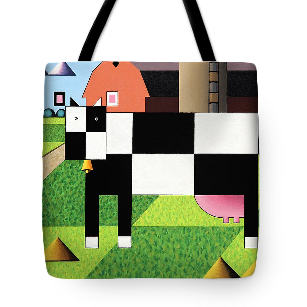 Cow Tote Bag featuring the painting Cow Squared With Barn Big by Bruce Bodden