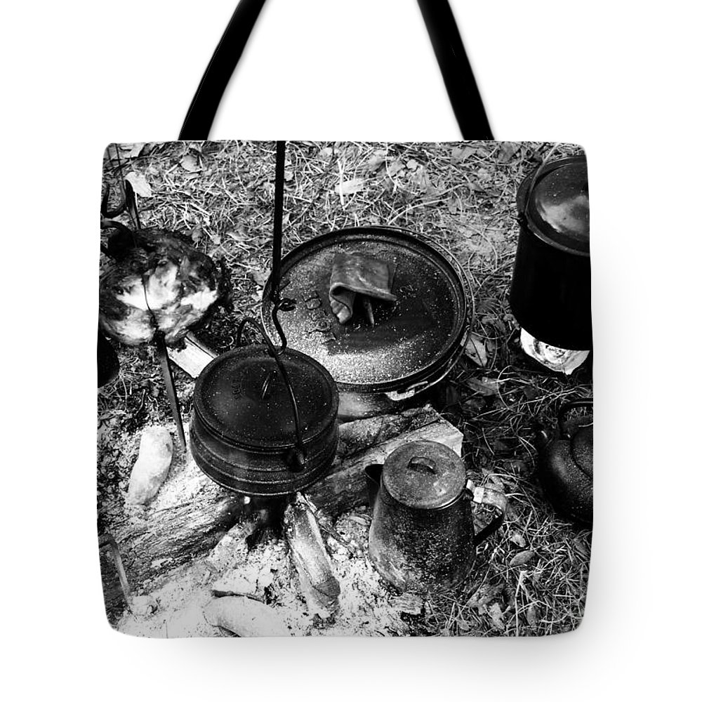 Cooking Tote Bag featuring the photograph Cowboy Cooking by David Lee Thompson