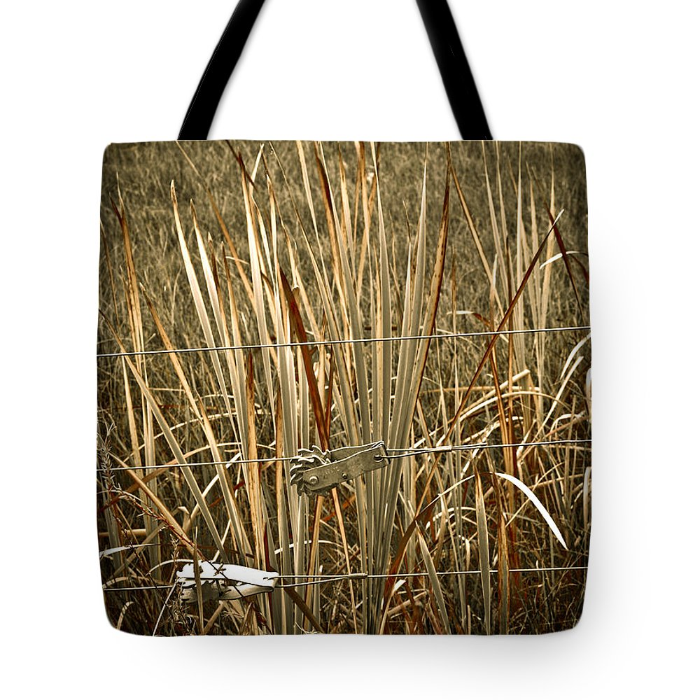 Americana Tote Bag featuring the photograph Cowboy Fence by Marilyn Hunt