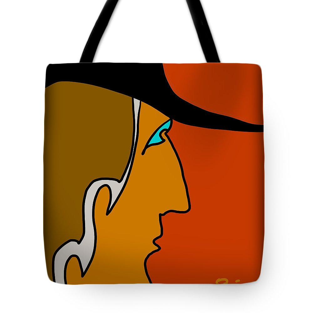 Quiros Tote Bag featuring the digital art Cowboy by Jeff Quiros