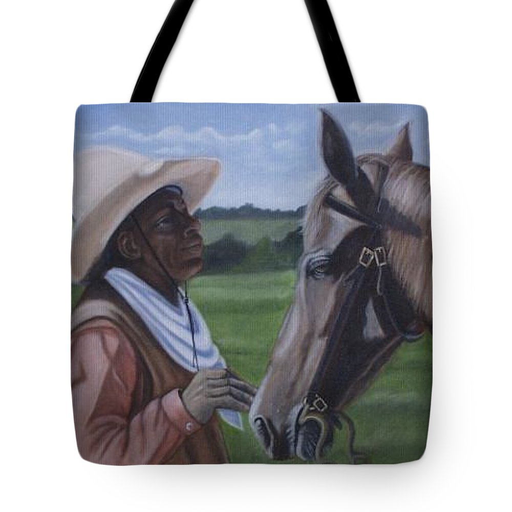 Portrait Tote Bag featuring the painting Cowboy2 by Toni Berry