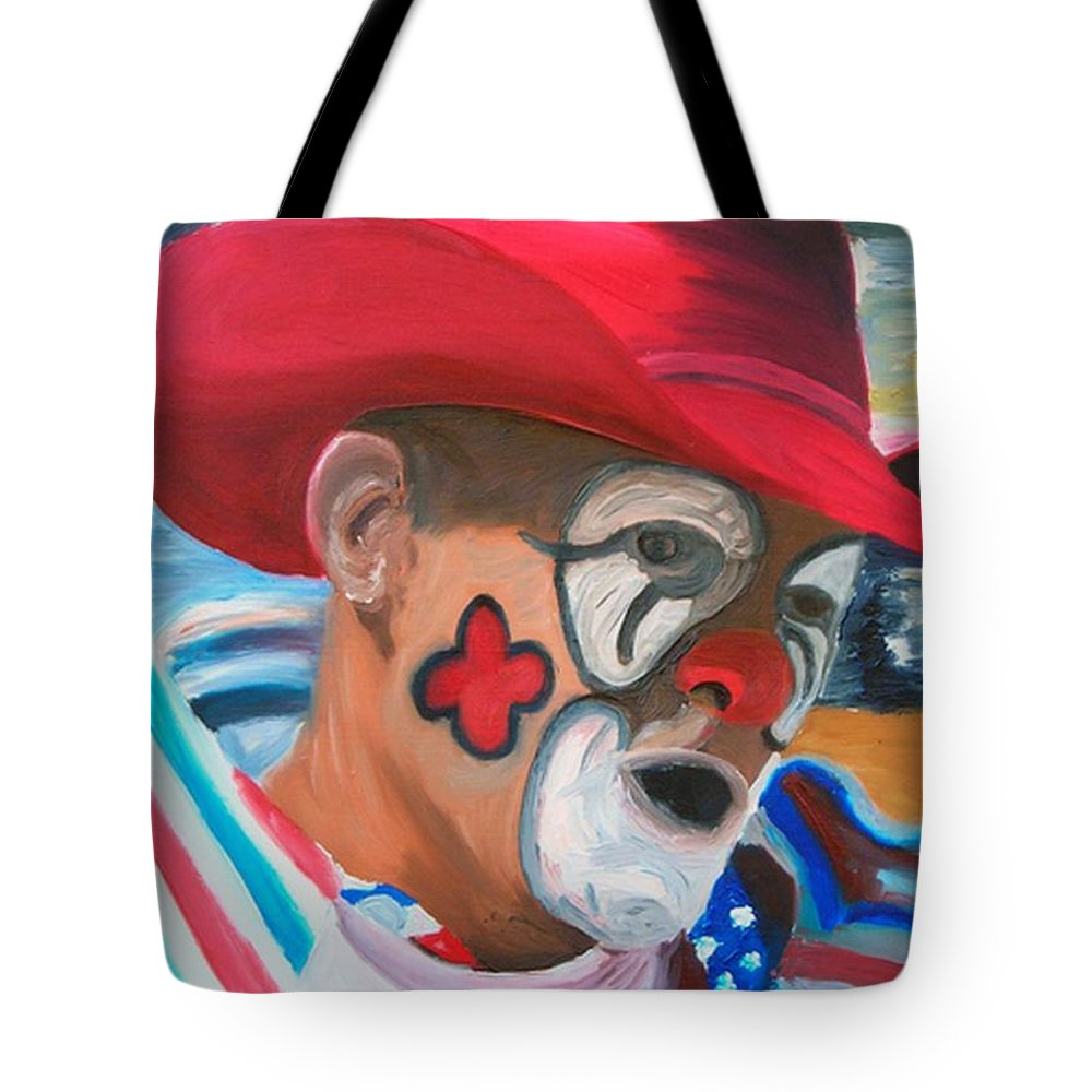 Rodeo Clown Tote Bag featuring the painting Cowboys Angel by Michael Lee