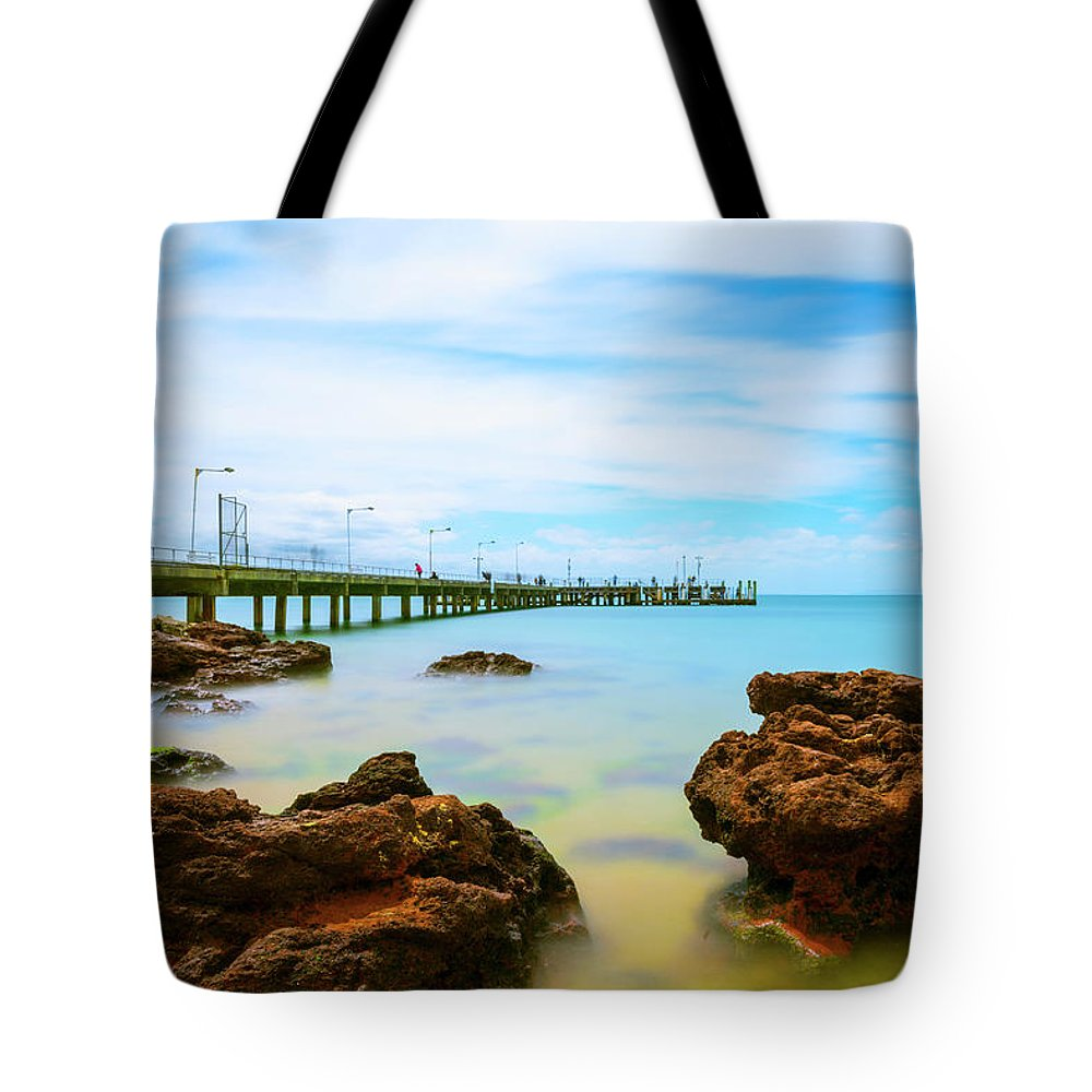 Landscapes Tote Bag featuring the photograph Cowes Pier by DesignBoard Photography