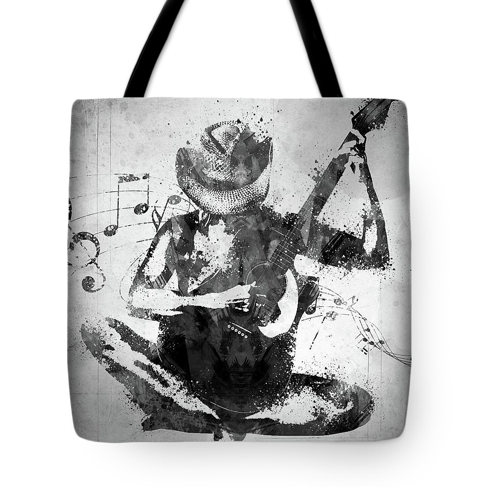 Guitar Tote Bag featuring the digital art Cowgirl in the Sand White and Black by Aged Pixel