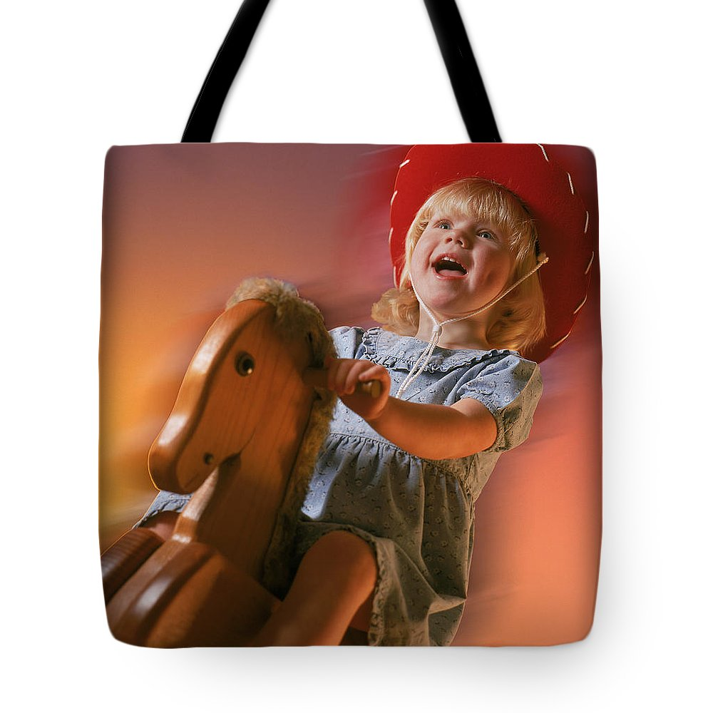 Rocking Horse Tote Bag featuring the photograph Cowgirl by Kelley King