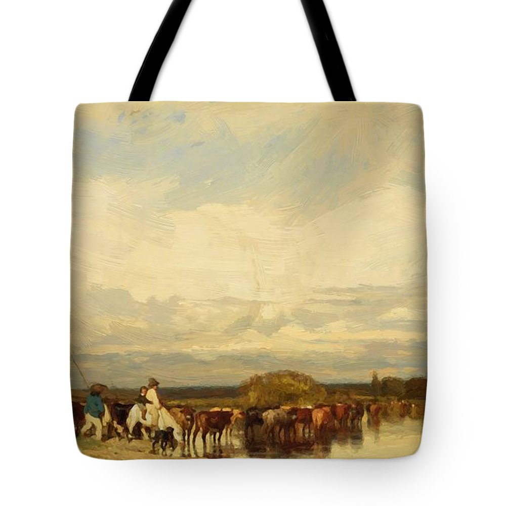 Cows Tote Bag featuring the painting Cows Crossing A Ford 1836 by Dupre Jules
