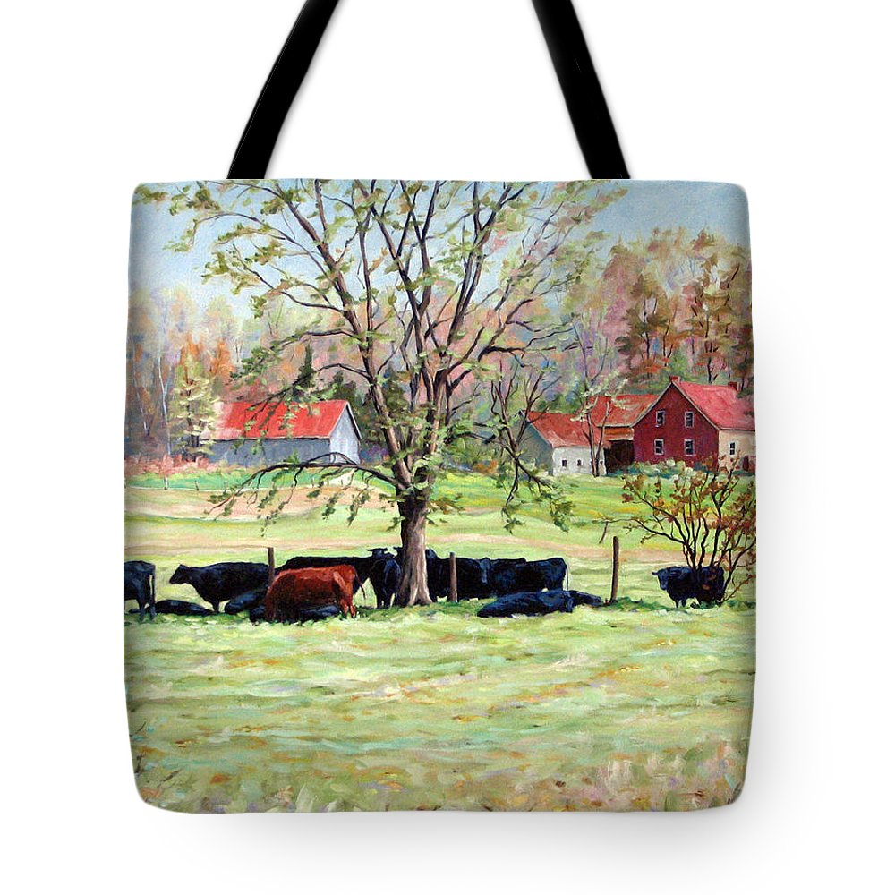 Cows Tote Bag featuring the painting Cows Grazing In One Field by Richard T Pranke