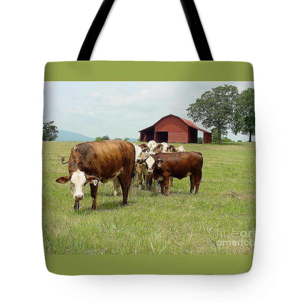 Cow Tote Bag featuring the photograph Cows8939 by Gary Gingrich Galleries